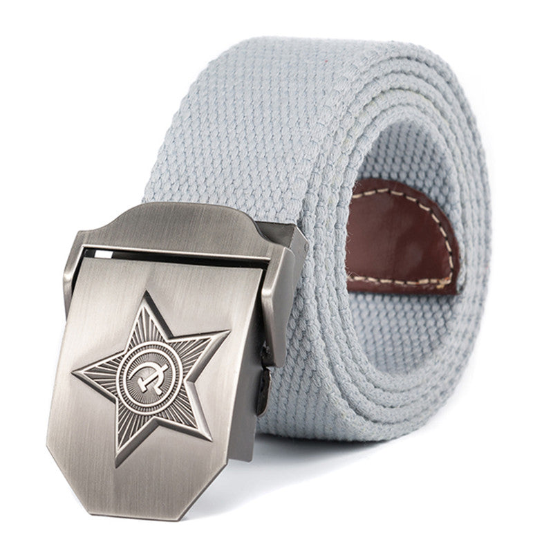 MENS 3D RAYS STAR MILITARY BELT-OLD CCCP PATRIOTIC RETIRED CANVAS BELT