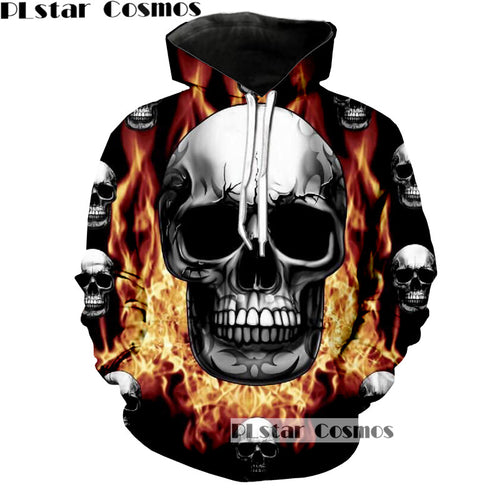MENS 3D HOODED CREATIVE SKULL COLLAGE PRINT SWEATSHIRT* (S-5XL)