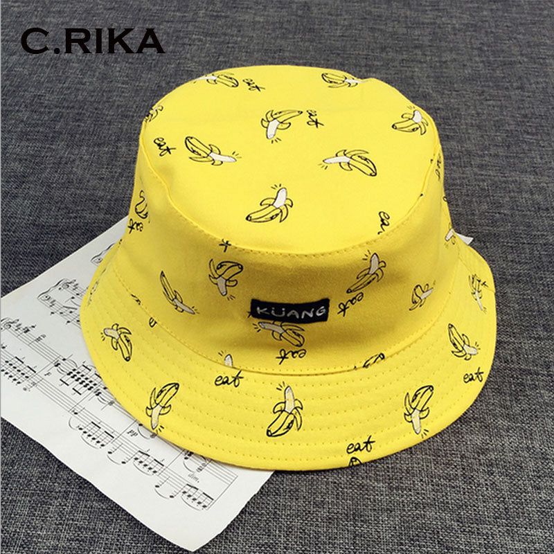 d5b20b2111431 C.RIKA Two-Sided Reversible Summer Letter Print Bucket Hat HUB TITAN