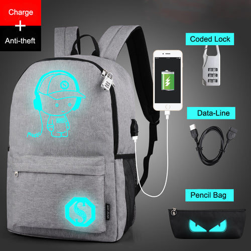 Luminous Animated Anti-Theft USB Charging Backpack