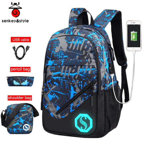 Luminous Animated Print USB Charging Backpack*