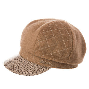 Wool Newsboy Cap- Cabbie Painter Patchwork Visor Beret