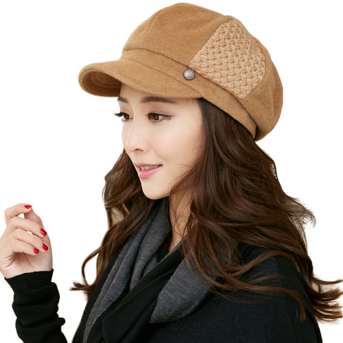 Wool Blend Women's Newsboy Cap