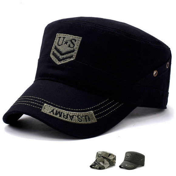 US ARMY Solid and Camo Print Flat Top Vintage Hat