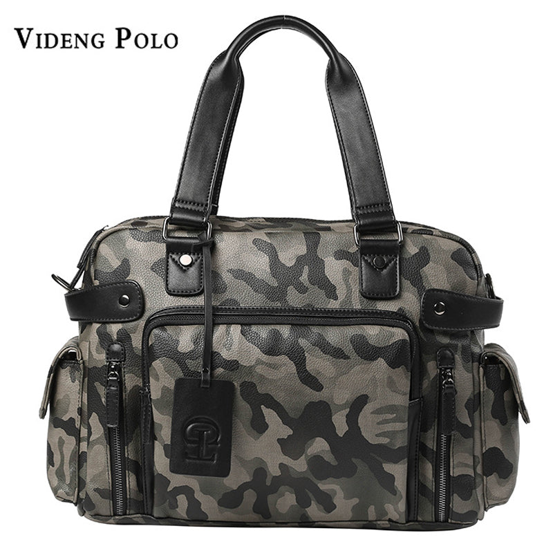 +VIDENG POLO Leather Camouflage Large Capacity Tote Bag*