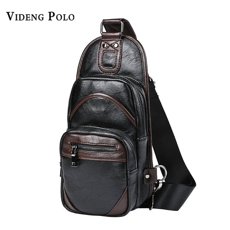 VIDENG POLO Vintage Leather Crossbody Travel Chest Pack