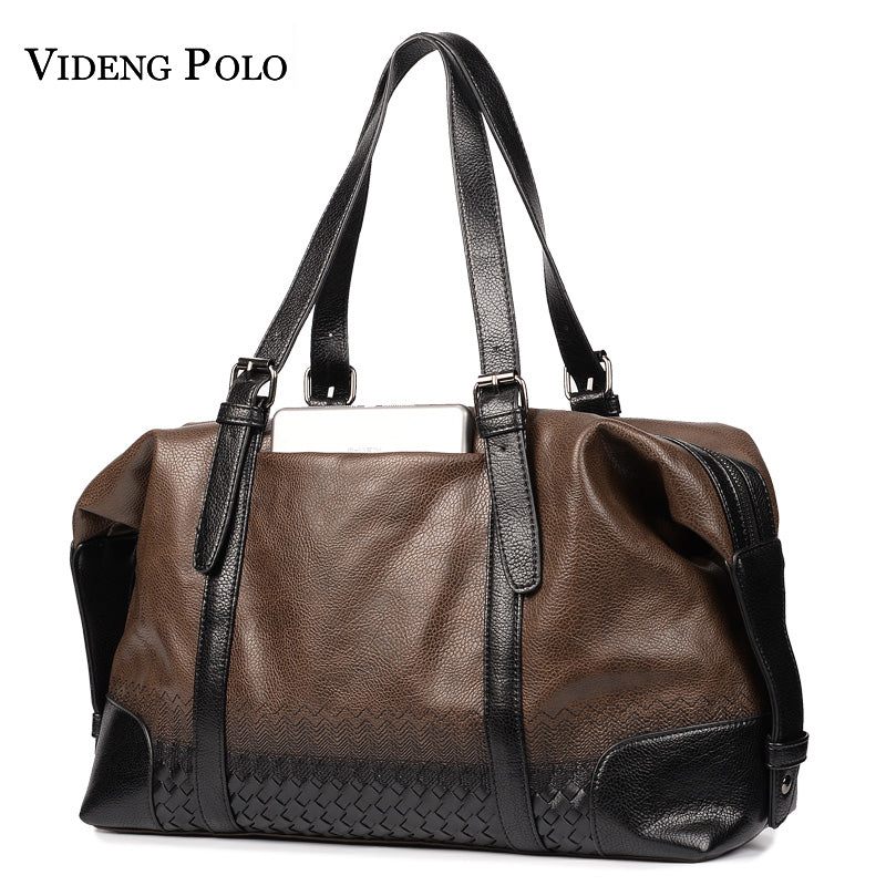 VIDENG POLO Weave Leather Business Travel Messenger Bag