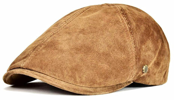 Genuine Leather Flat Cap -Real Pigskin 6 Panel Gatsby w/Lining Breathable Newsboy