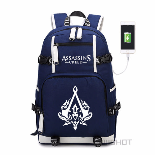 WISHOT Assassins Creed USB Charging Laptop Backpack
