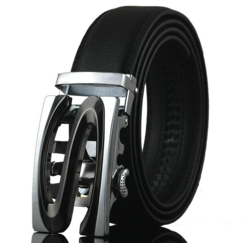 Mens Automatic Buckle- Leather luxury Belts Business Alloy Buckle