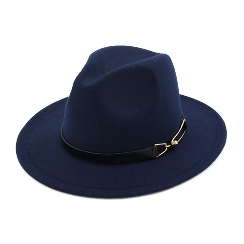 Wide Brim Winter Wool Fedora with Leather Buckle Strap*