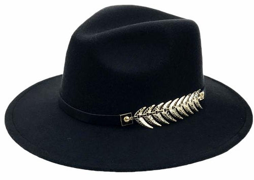 Vintage Winter Solid Pattern Wide Brim Fedora with Leaf Buckle*