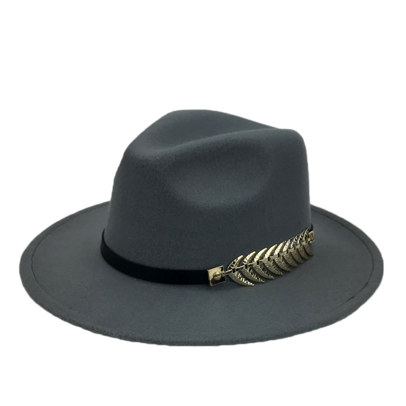 37052f86bc1 Vintage Winter Solid Pattern Wide Brim Fedora with Leaf Buckle ...