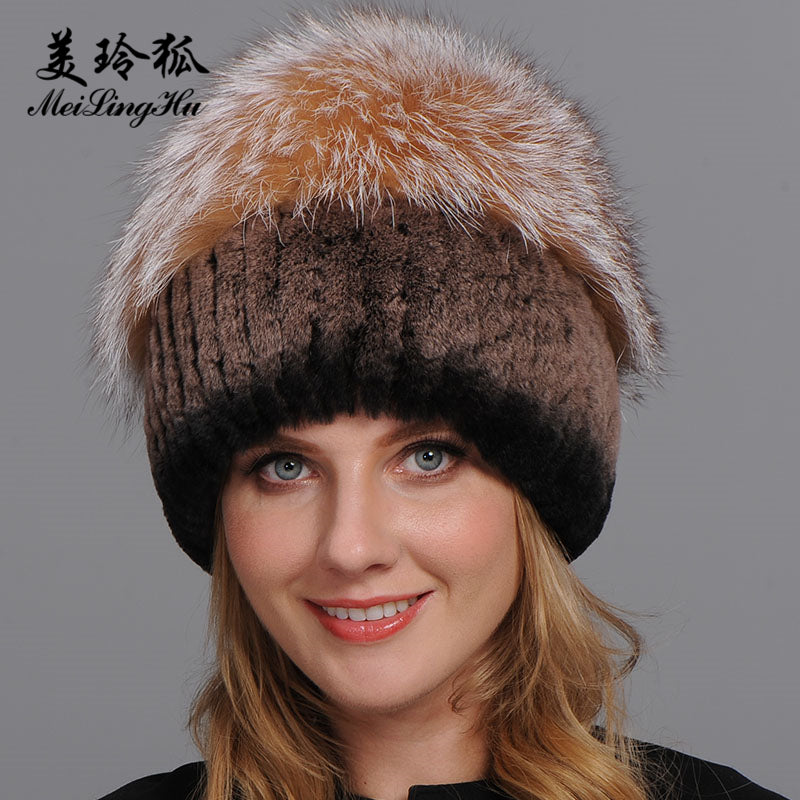 Women Warm Genuine Fur Hats Natural Rex Rabbit Fur Fox Skin Top ... d8aed666c9f