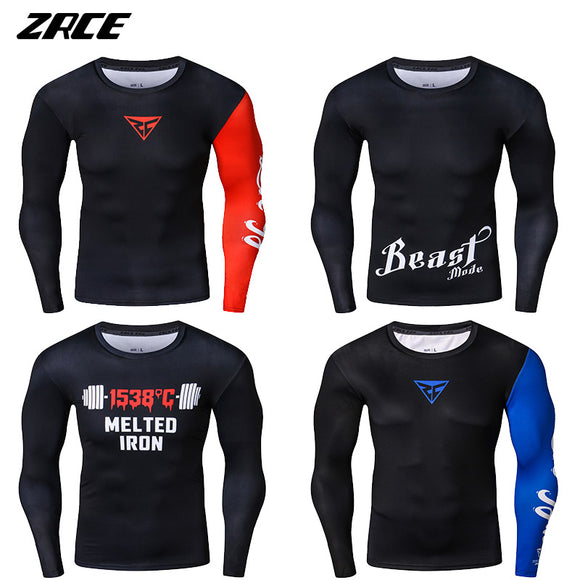 MENS 3D NOVELTY PRINT LONG SLEEVE COMPRESSION TOPS