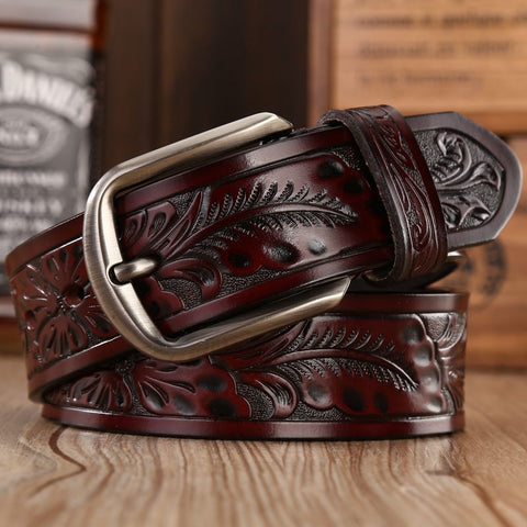 Thick Vintage Floral Style Cowboy Belt With Pin Buckle