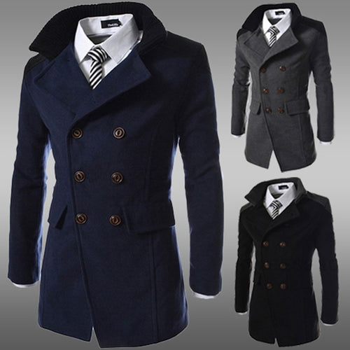 Long Winter Double-Breasted Wool Blend Trench Coat* (M-3XL)