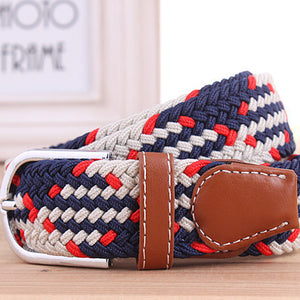 Mens Casual Elastic Canvas Braided Belt