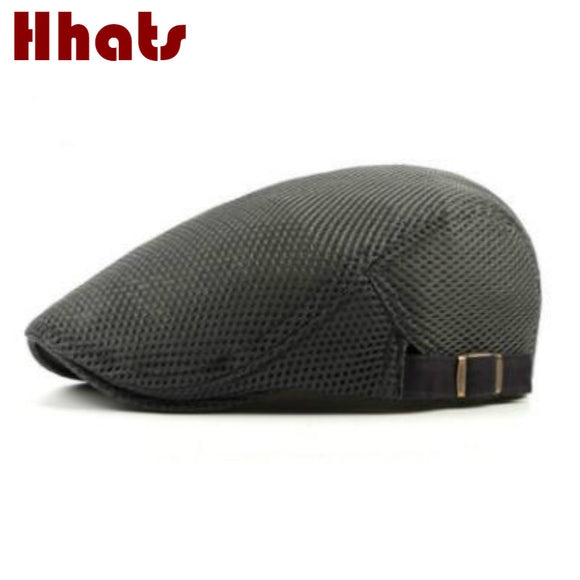Mens Breathable Solid Pattern Duckbill Newsboy Cap
