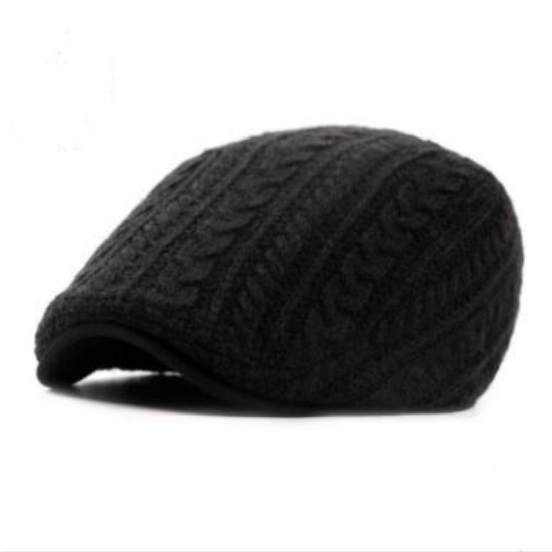 Winter beret hat- crochet men peaked cap