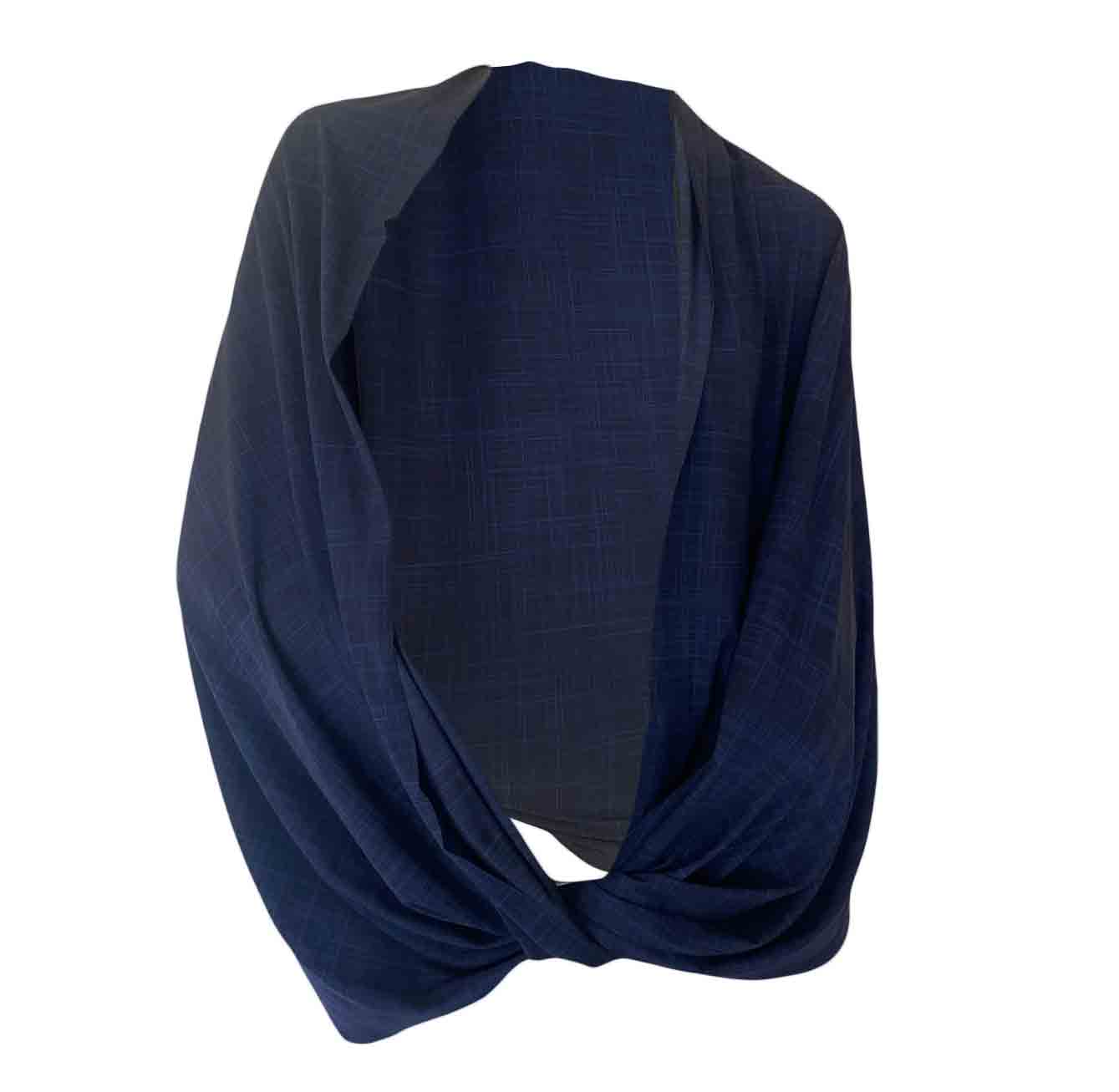 SunStyle Wrap UPF50+, Navy Linen Print