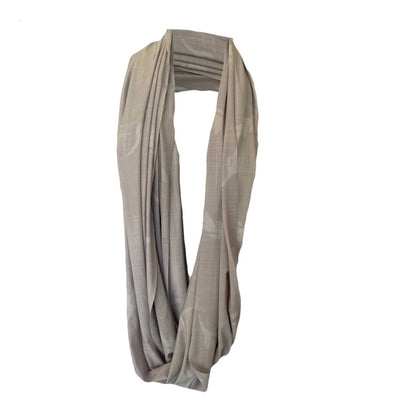 SunStyle Wrap UPF50+, Beige Linen Print with Leaf Motif