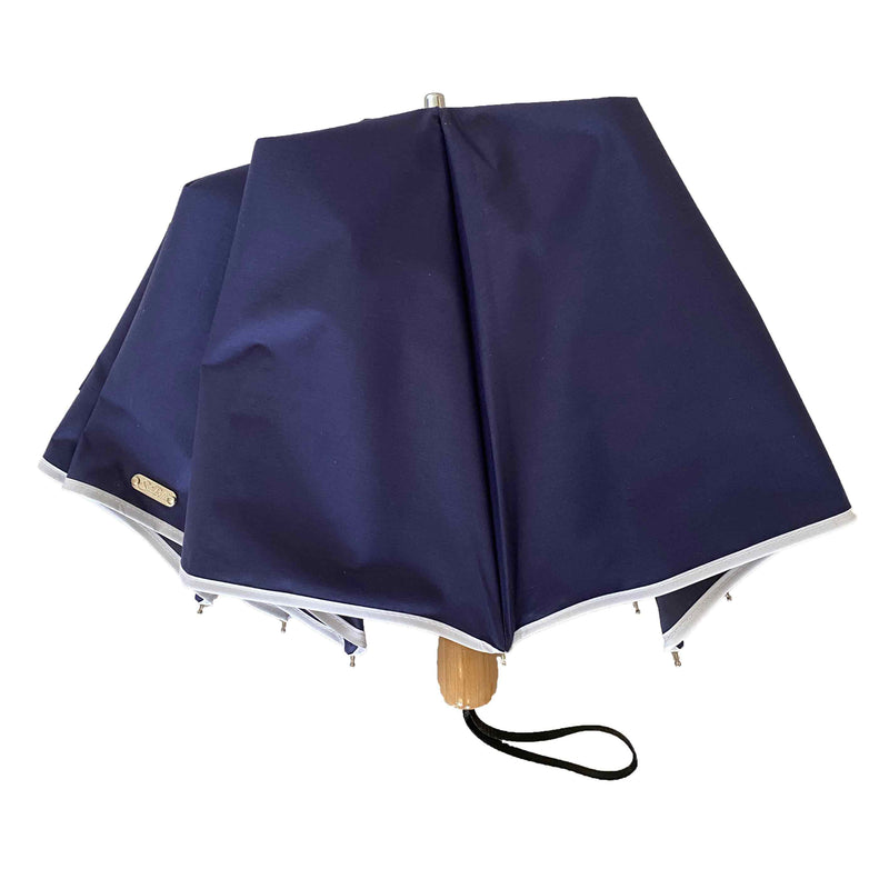 Compact Cosmopolitan Sun Umbrella - Navy with white trim