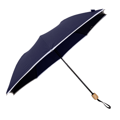 UPF50+ Elegant Compact UV Sun Umbrella - Navy with white trim