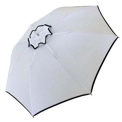 UPF50+ Elegant Compact UV Sun Umbrella - White with black trim