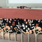 Flower power on black - Bed pocket, boxzak, organizer
