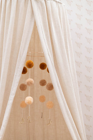 Natural linen canopy -beige bed canopy, bedhemel