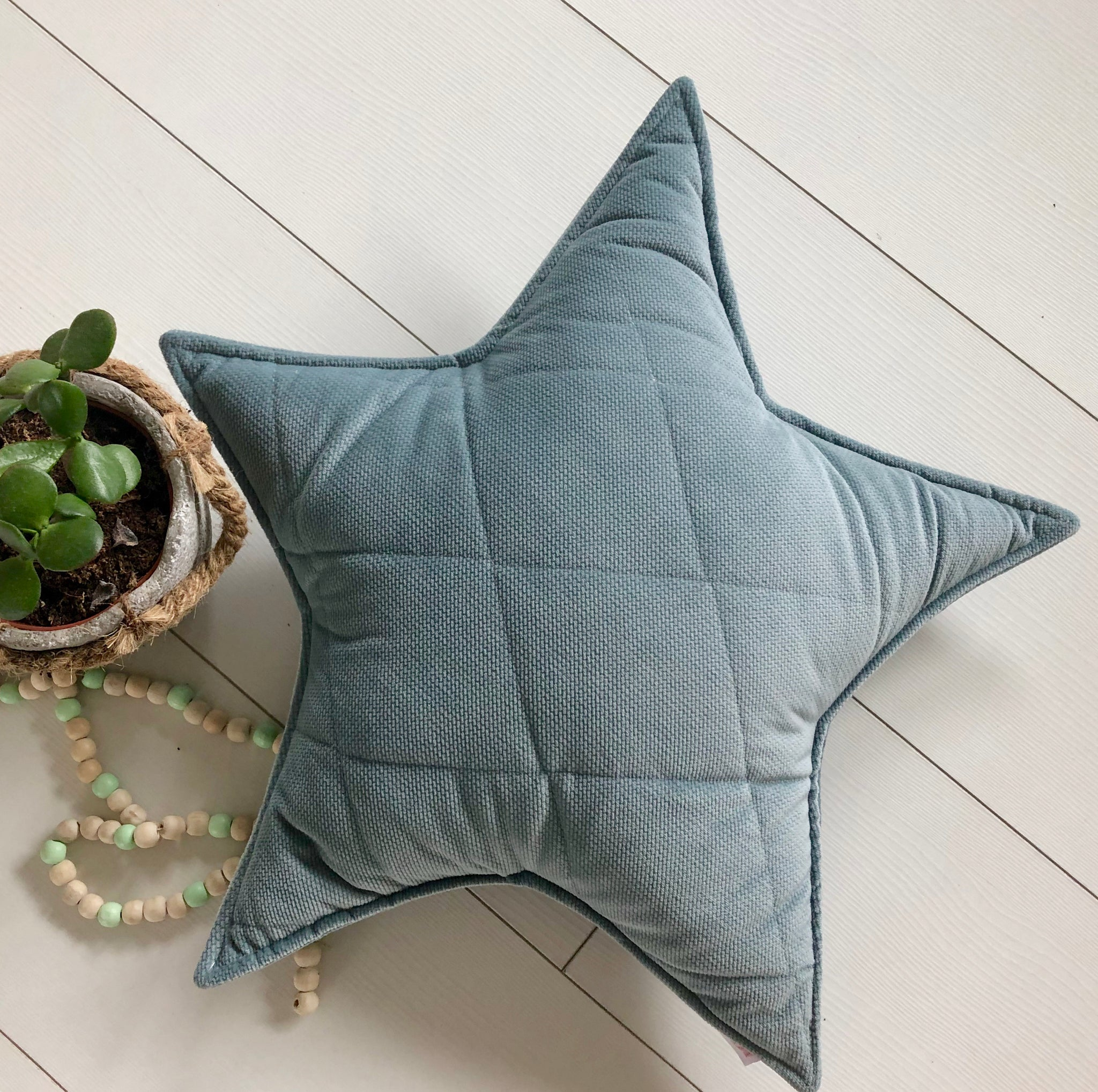 Sage star - velvet pillow