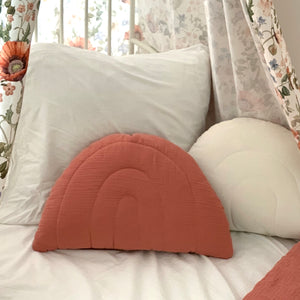 Dusty pink rainbow - muslin pillow