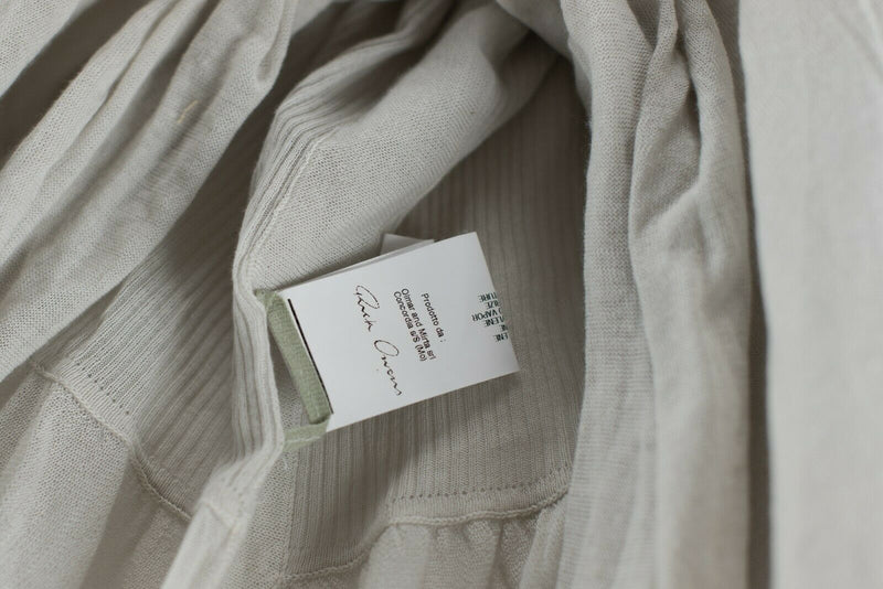Rick Owens Womens Size Small Beige Cream Sweater Asymmetrical Draped Knit Shirt