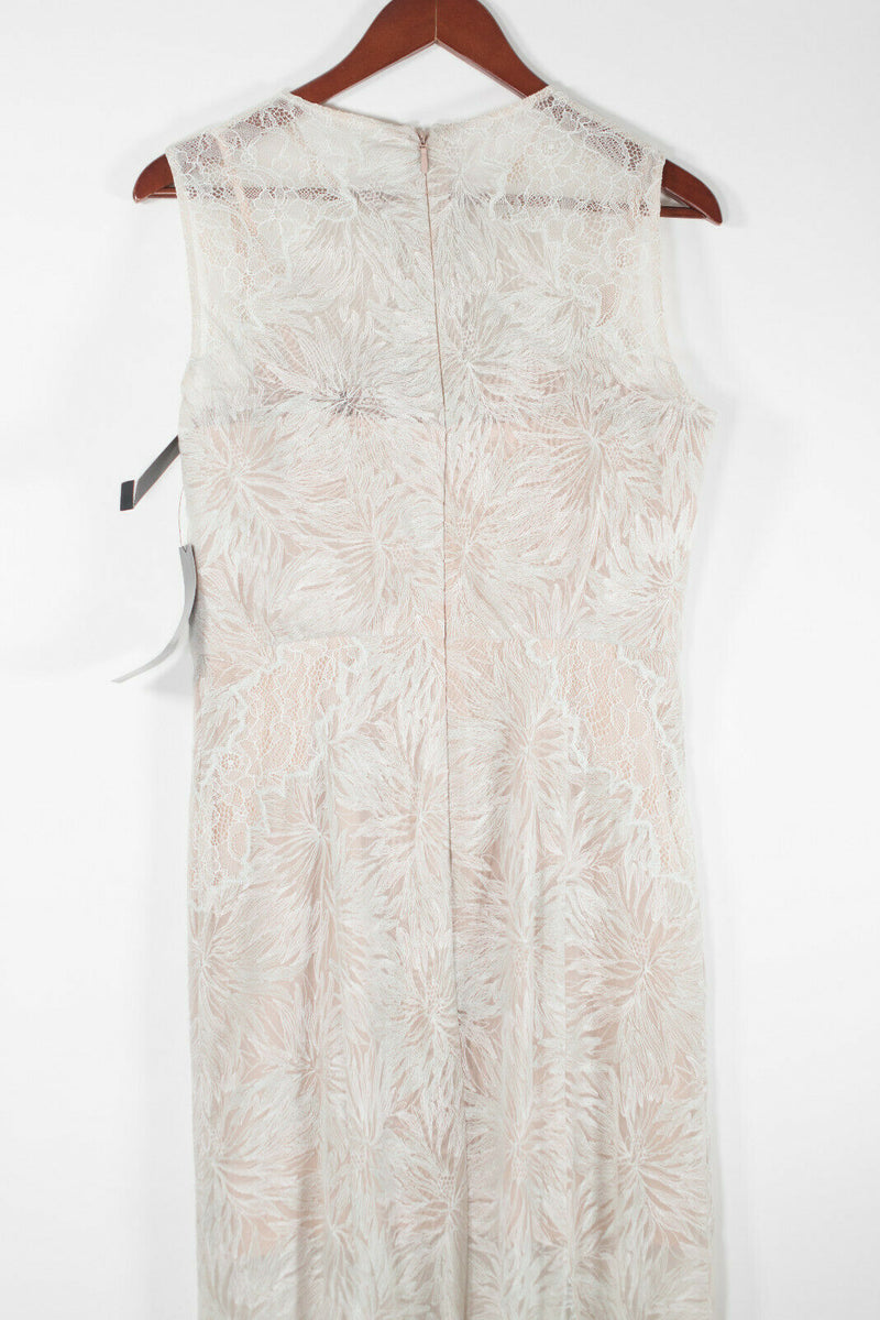 BCBG Maxazria Womens 10 Medium Beige Mint Marlyn Gown Lace Maxi Dress NWT $568