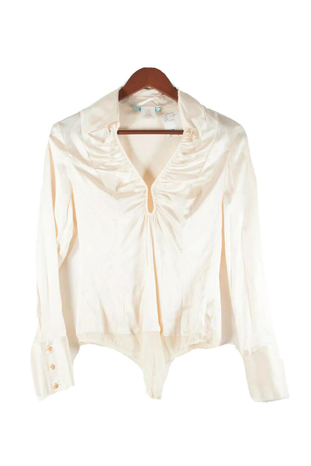 Marciano Women XS Ivory Cream Bodysuit Silk Top