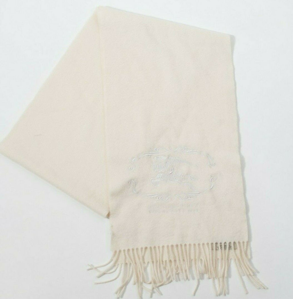Burberry Womens Ivory Scarf Cursive Embroidered Soft Cashmere Rectangle Fringe