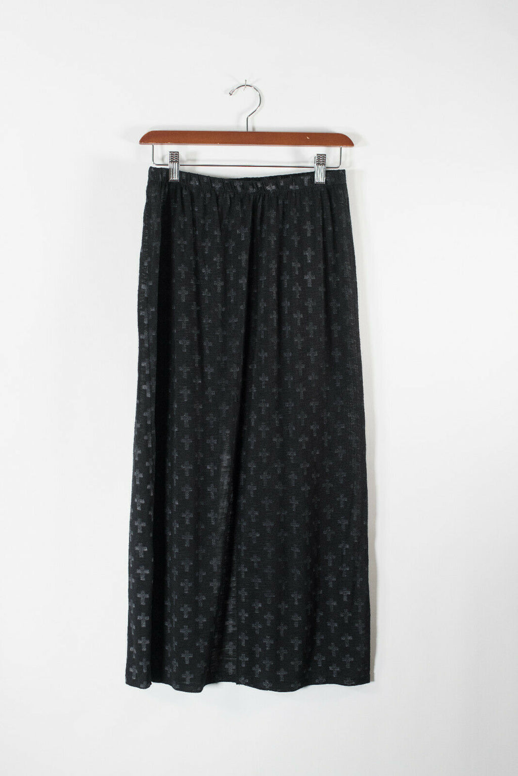 Dolls Kill Honey Punch Womens Small Black Maxi Skirt Faded Crosses Front Slit