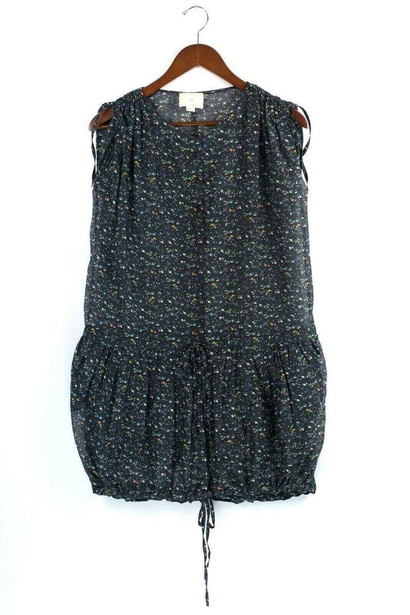 Boy. Band of Outsiders Womens Size 2 Small Medium Black Dress Sheer Floral Print