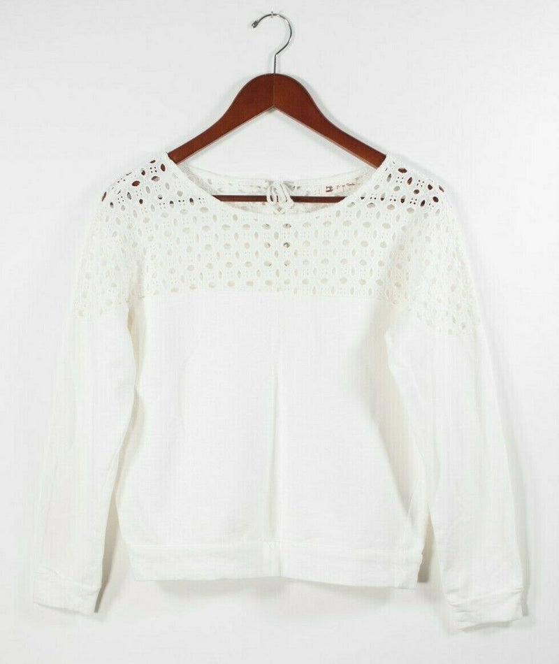 Cotton Candy LA Womens Small White Pullover Top Eyelet Broderie Anglaise Sweater