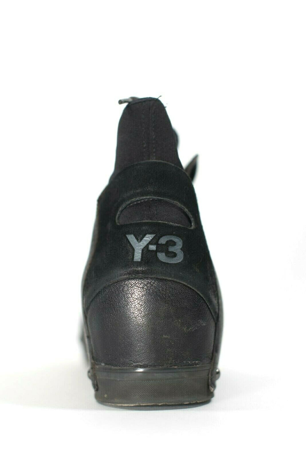 Y-3 Yohji Yamamoto Women Size 7 Black Sneakers Lace Up Hidden Wedge Flat Shoes