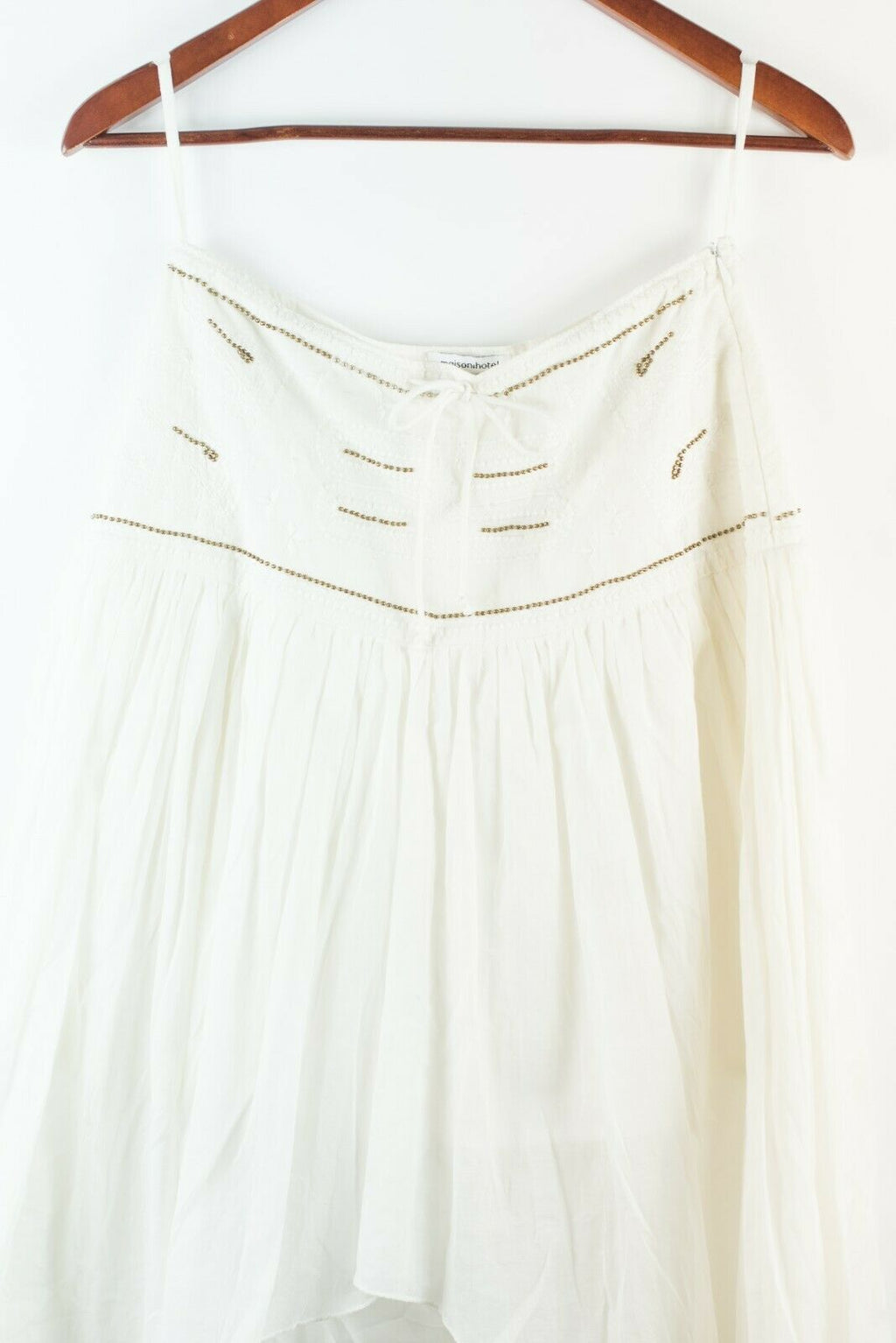 Maison Hotel Womens Size Small White Skirt High Low Beaded Bohemian Cotton Midi