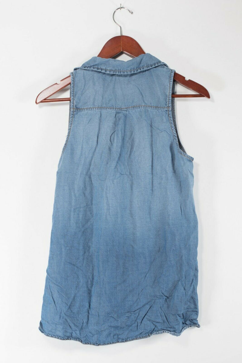 Splendid Womens Small Blue Sleeveless Blouse Denim Shirt