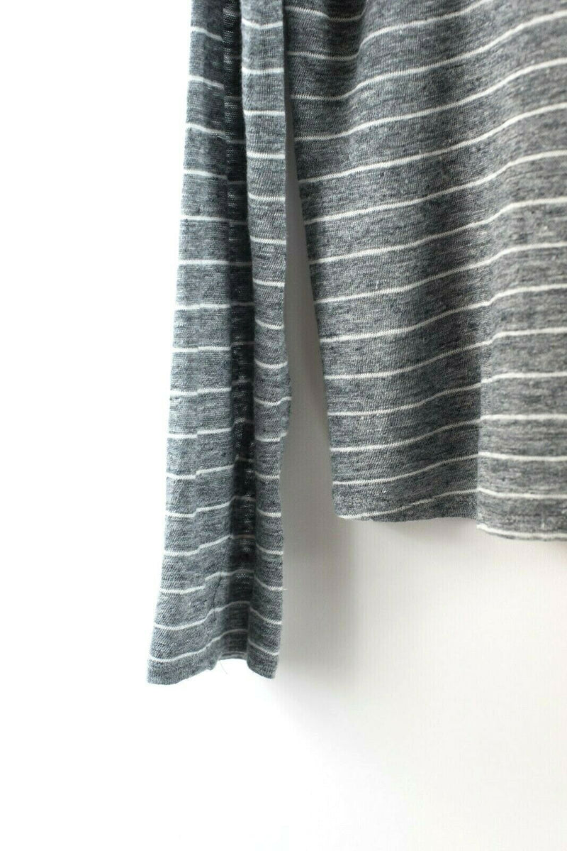 Vince Womens Medium Grey Top T Shirt Stripe Knit Long Sleeve Pullover Sweater