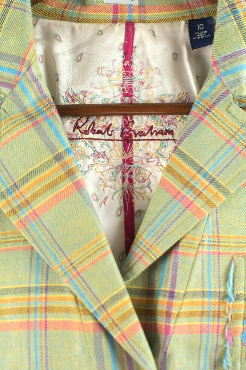 Robert Graham Womens Lime Green Blazer Plaid Fitted Blazer Jacket Embroidered