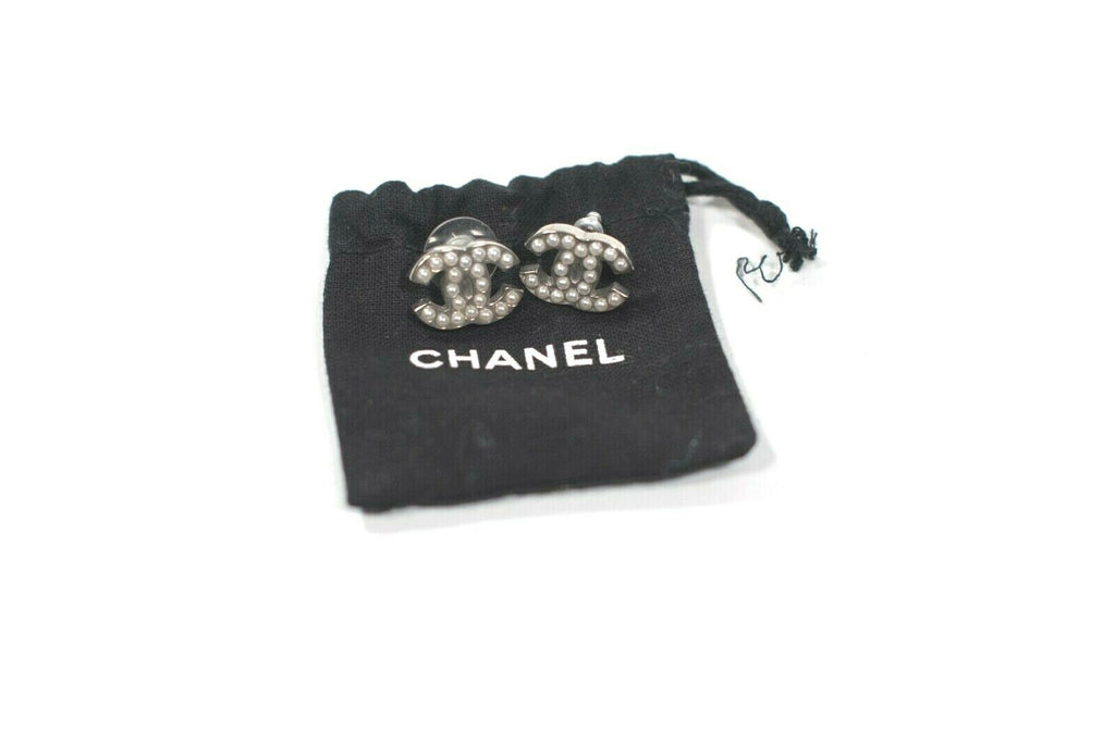 Chanel Womens Silver Tone Earrings Interlocking CC Logo Faux Pearl Gold Stud