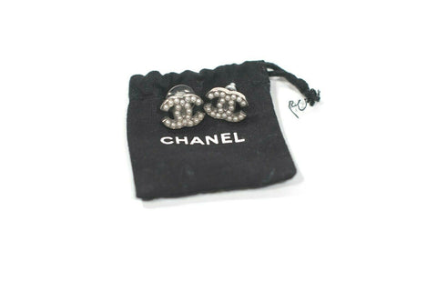 Chanel Womens Black Ivory Hair Tie Elasticized Big Faux Pearl Gold Tone CC Logo