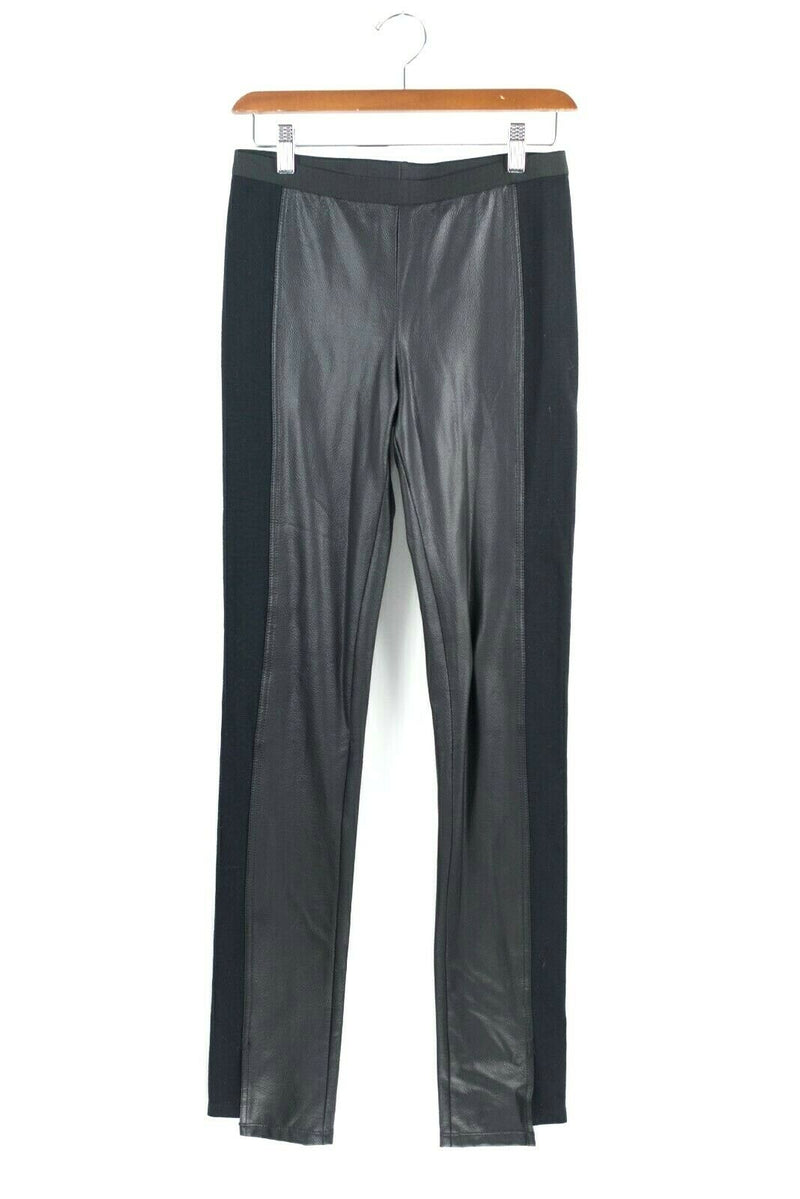 BCBG Maxazria Black Legging Pants Vegan Faux Leather Skinny Fabric Slim Stretch