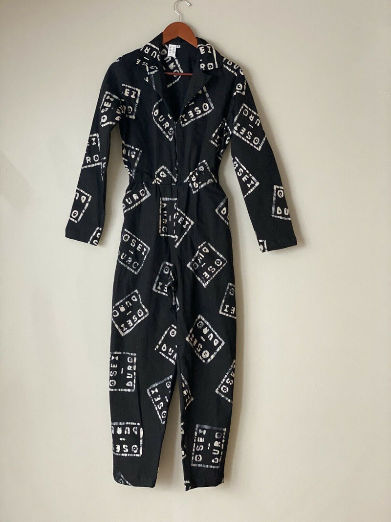 Osei Duro Women's Size Small Black White Jumpsuit Flight Suit In Logo Zip Front