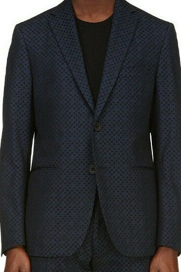 Christopher Kane Mens Small Navy Blue Suit Jacket Two Button Molecules Blazer